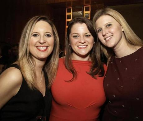 2-6-2015 Boston, Mass. 400 guests attended Veterans Legal Services Annual Gala held at the Mandarin Oriental Hotel. L. to R. are Claire Nielsen of Boston, Janine Ladislaw of Boston and Sara Mattern of Boston Globe photo by Bill Brett